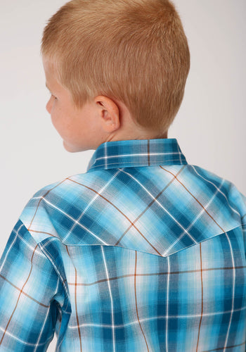 Boy's Amarillo Collection - Desert Sky Amarillo Boys Short Sleeve 00163 Blue Mesa Plaid