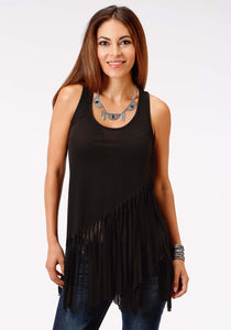 Studio West- Viva La Vida Swest Womens Sleeveless Shirt 0980 Poly Spandex Tank Wself Fringe
