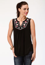 Studio West- Southern Blooms Swest Womens Sleeveless 00103 Pr Slub Jersey Peasant Top