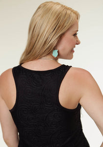 Studio West- Call Of The Wild Swest Ladies Sleeveless Shirt 0222 Allover Lace Tank Wlining