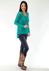 Studio West- Folk Magic Swest Womens Long Sleeve Shirt 0610 Sweater Jersey Laced Pcd Top