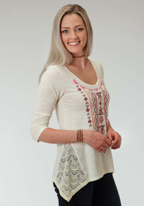 Studio West- Boho By Nature Swest Womens Long Sleeve Shirt 0946 Cream Ity Jersey Tunic