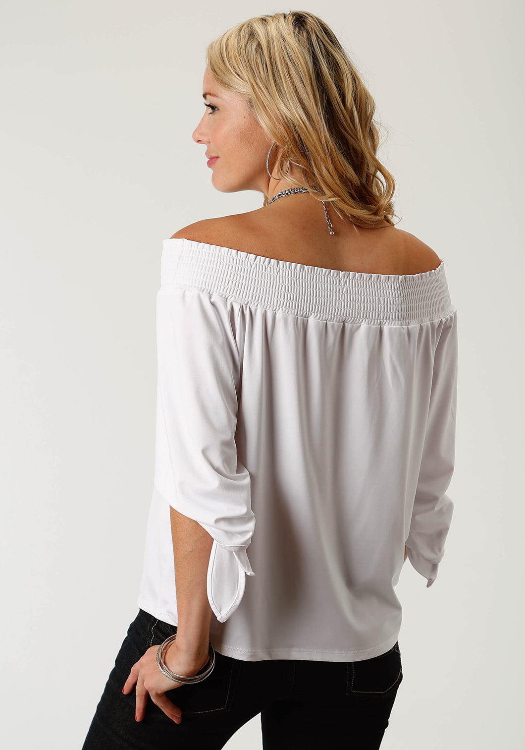 Studio West- Garden Paradise Swest Womens Long Sleeve Shirt 1770 Poly Spandex Jersey Off Shoulder