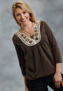 Studio West- Native Rituals Swest Ladies Long Sleeve Shirt 9917 Cp Heather Jersey Peasant Top