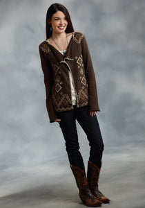 Studio West- Native Rituals Swest Ladies Long Sleeve Shirt 9920 Lt Wt French Terry Caridagan