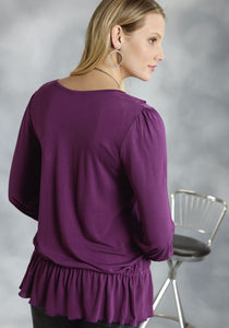 Studio West- Folkloric Swest Ladies Long Sleeve Shirt Viscose Jersey Blouse Wruffled Front