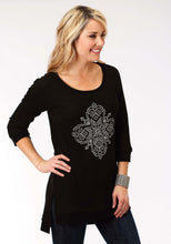 Studio West- Gypsy Caravan Swest Womens Long Sleeve Shirt 1298 Pr Thermal Top With Scrn Print