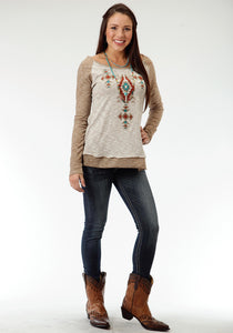 Studio West- Native Dancer Swest Womens Long Sleeve Shirt 0569 Cp Heather Slub Jersey Top
