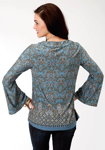 Studio West Collection- Autumn Meadow Swest Womens Long Sleeve 9501 Border Prt Poly Span Jersey Top