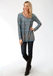 Studio West Collection- Autumn Meadow Swest Womens Long Sleeve 9501 Border Prt Poly Span Jersey Tunic