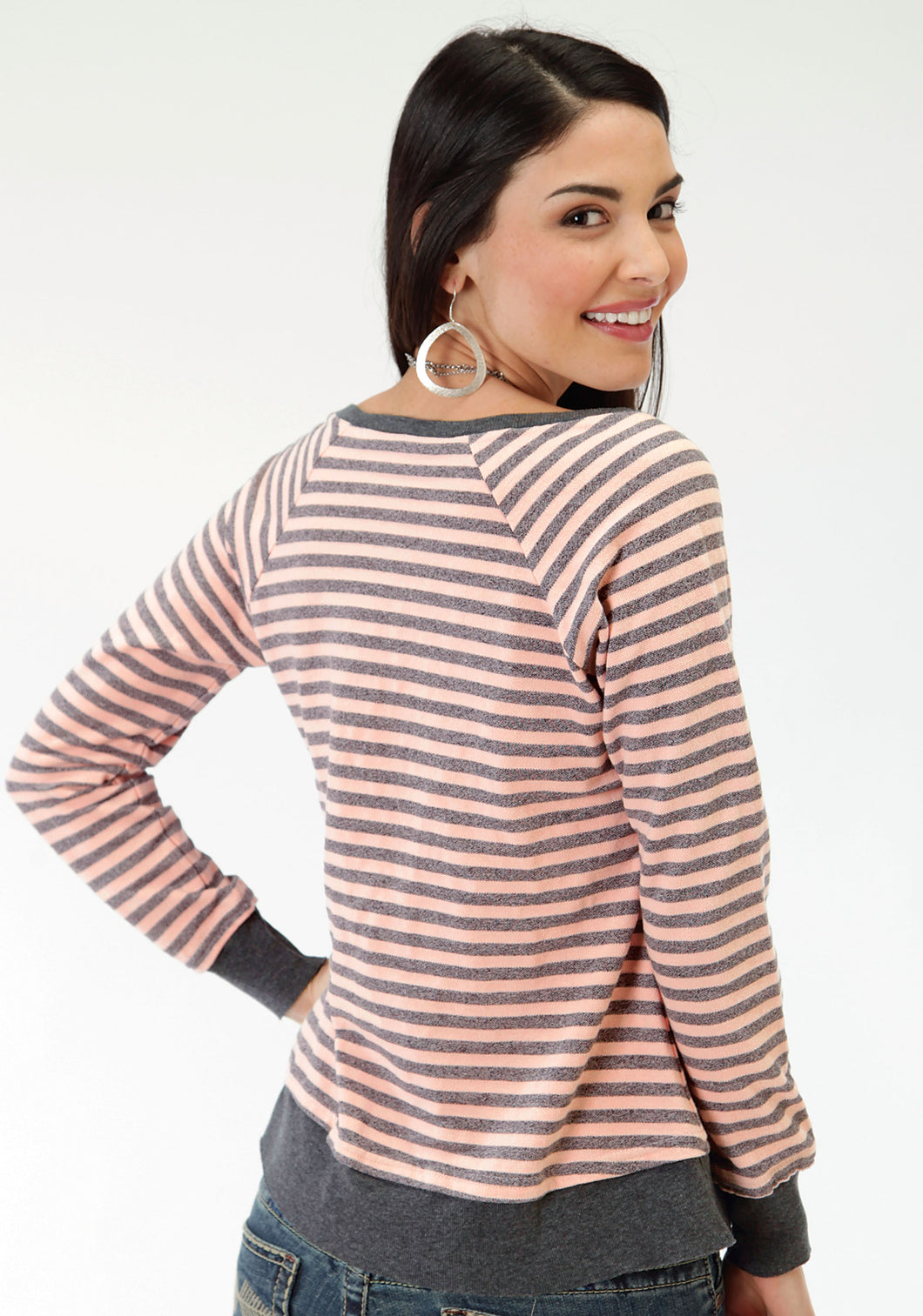Five Star- Retro Pop 5star Womens Long Sleeve Shirt 0571 Pique Stripe Tee