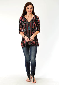 Studio West- Midnight Garden Swest Womens Long Sleeve 3142 Poly Spandex Prt Jersey Tunic