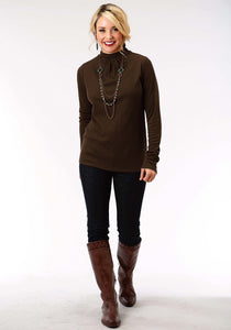 Studio West- Folk Fest Swest Womens Long Sleeve Shirt 1298 Poly Rayon Thermal Mock Neck Top
