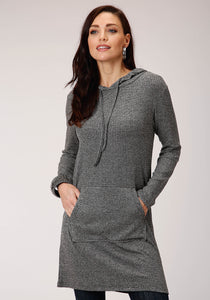 Studio West- The Wild Side Swest Womens Long Sleeve 00381 Rib Knit Tunic Length Hoodie