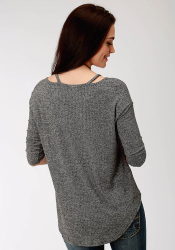 Studio West Collection- Autumn Meadow Swest Womens Long Sleeve 9499 Heather Ribknit Oversize Top