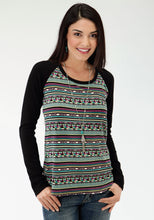 Five Star- Treasure Hunt 5star Womens Long Sleeve Shirt 0528 Aztec Print Raglan Top