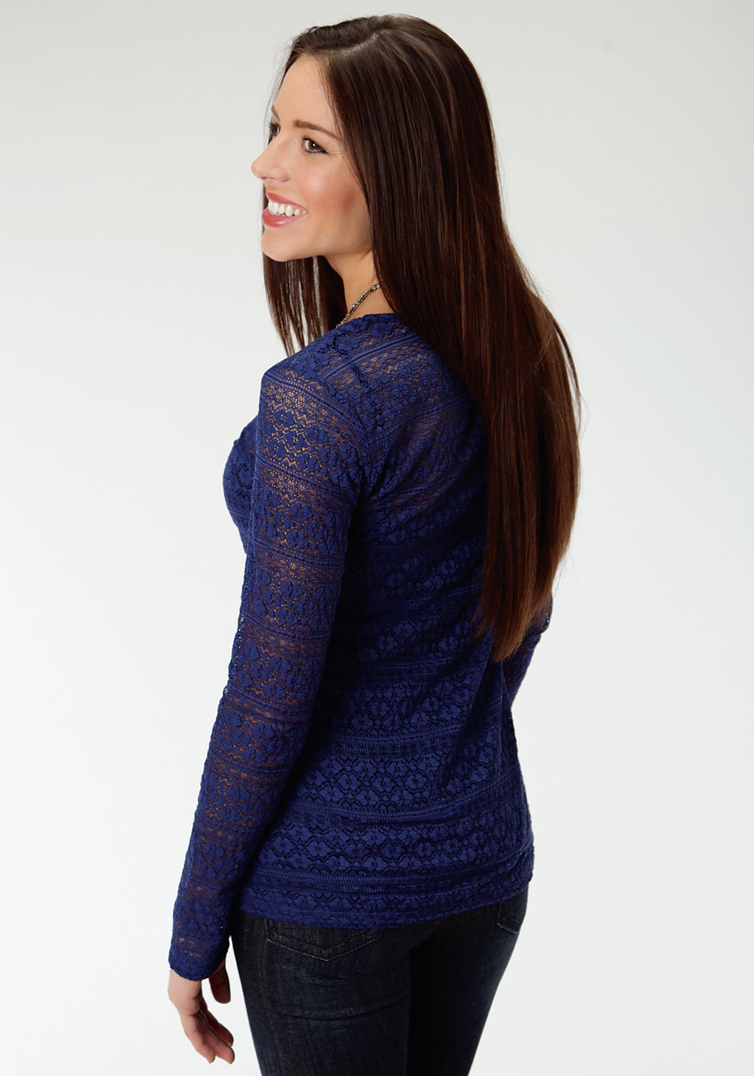 Studio West- Out Of The Blue Swest Womens Long Sleeve Shirt 0589 Allover Stretch Lace Tee