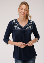 Studio West- Blue Bayou Swest Womens Short Sleeve 00097 Pr Jersey Peasant Top
