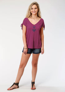 Five Star Collection- Summer Ii 5star Womens Short Sleeve 8173 Poly Rayon Lace-up Ss Tee