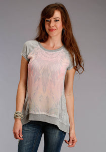 Studio West- Rosy Outlook Swest Womens Short Sleeve Shirt 1569 Cotton Poly Jersey Pieced Top