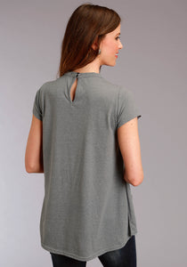 Studio West Collection- Spring Magic Swest Womens Short Sleeve 2596 Heather Jersey Mock-neck Top