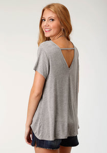 Five Star- Summer I 5star Womens Short Sleeve Shirt 1802 Heather Grey Knit Loose Fit Tee