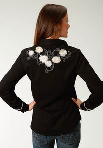 "Old West Collection Oldwest Womens Long Sleeve 1920 ""mums"" Embroidery"