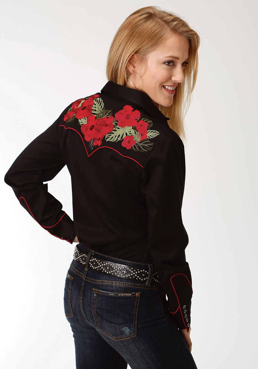 Old West Collection Oldwest Womens Long Sleeve Shirt 1396 Hawaiian Floral Embroidery