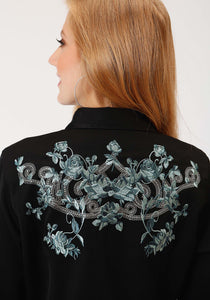 Old West Collection Oldwest Womens Long Sleeve Shirt 0957 Floral Embroidery