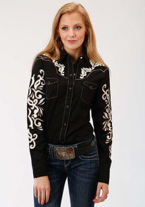 Old West Collection Oldwest Womens Long Sleeve Shirt 0958 Cream Applique