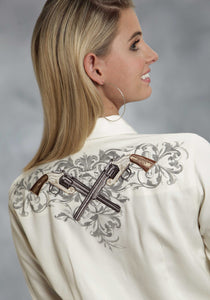 Old West Collection- Summer Ii Oldwest Ladies Long Sleeve Shirt 65p35r Twill Wantique Six Shooter