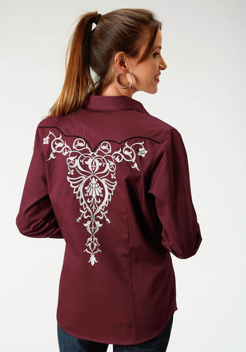 Old West Collection Oldwest Womens Long Sleeve 1885 Maroon Wfancy Emb On Frt And Bk