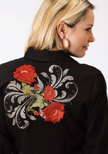 Old West Collection Oldwest Womens Long Sleeve Shirt 1345 Cactus Flower Embroidery