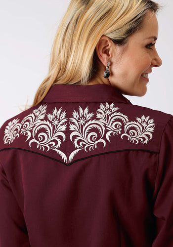 Old West Collection Oldwest Womens Long Sleeve Shirt 1349 Wine Swirls Embroidery
