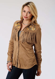Old West Collection Oldwest Womens Long Sleeve Shirt 1287 Faux Suede Ls Shirt Wfringe