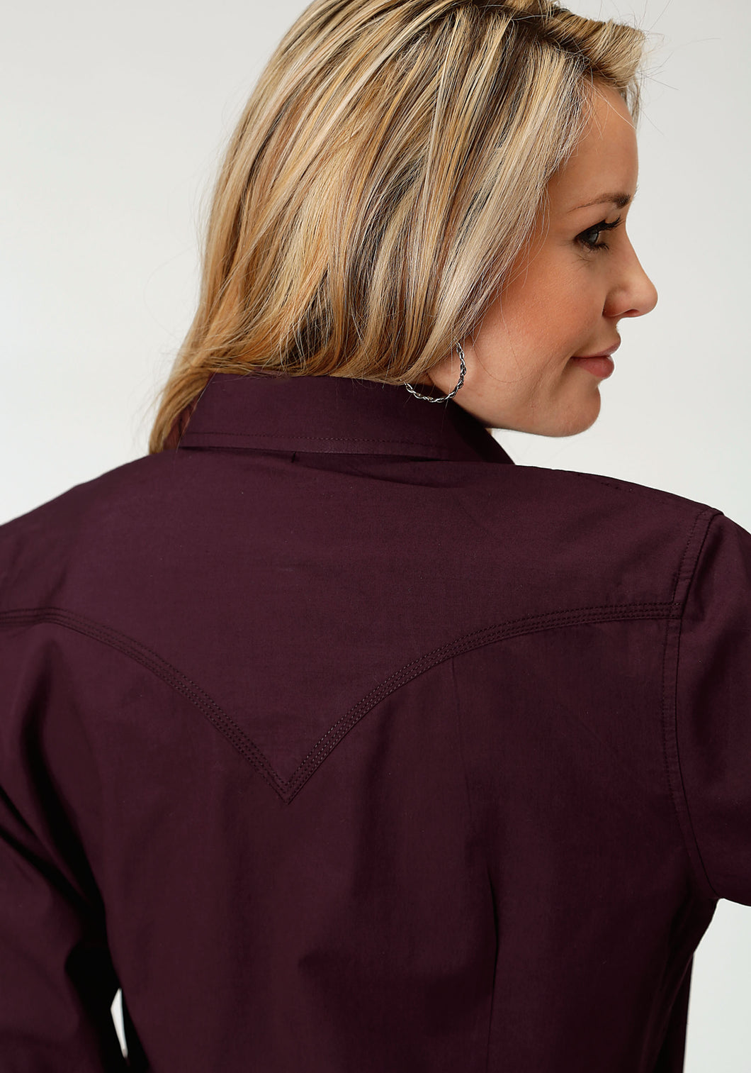 Performance Collection Westm Womens Long Sleeve Shirt 1274 Solid Poplin - Deep Plum