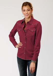 West Made Collection Westm Womens Long Sleeve 3927 Solid Poplin - Deep Wine