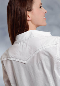 Performance Collection- Spring I Westm Ladies Long Sleeve Shirt 0281 Solid Poplin - White