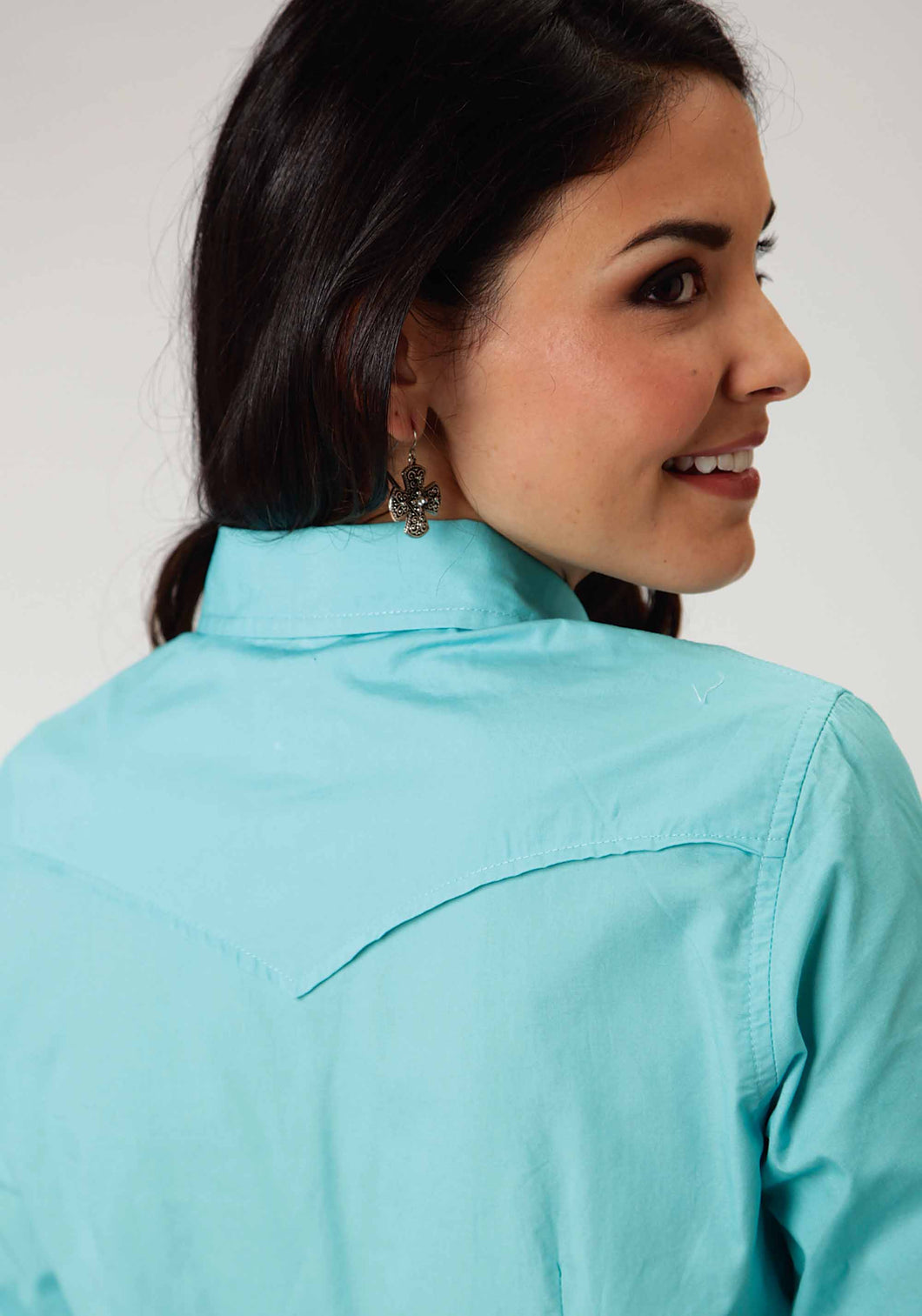 Performance Collection Westm Womens Long Sleeve Shirt 00456 Solid Poplin - Aqua