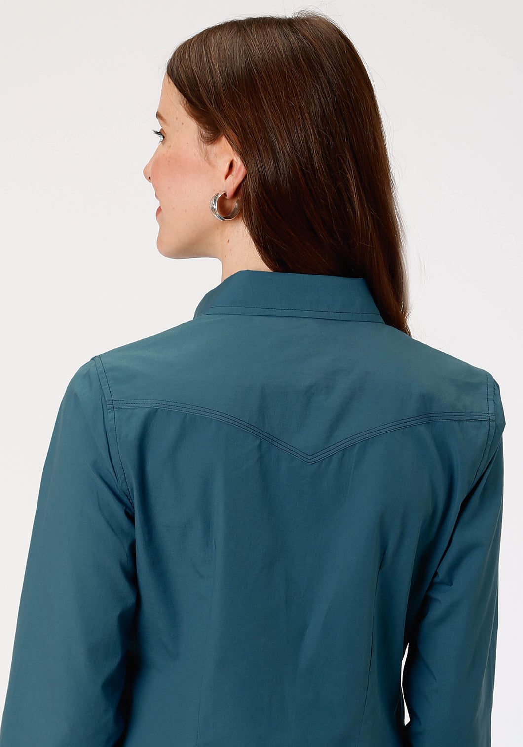 West Made Collection Westm Womens Long Sleeve 1418 Solid Poplin - Teal