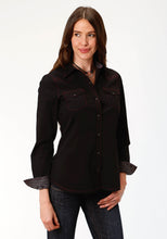 West Made Collection Westm Womens Long Sleeve 1418 Solid Poplin - Black