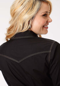 Performance Collection Westm Womens Long Sleeve Shirt 1273 Solid Poplin - Black