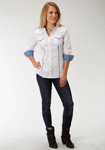 West Made Collection Westm Womens Long Sleeve Shirt 1540 Solid Poplin - White