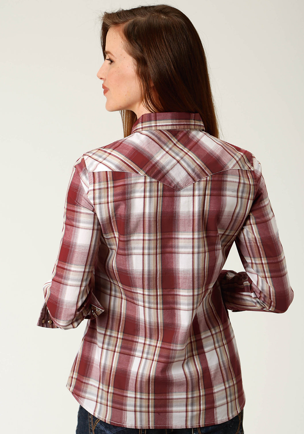 West Made Collection Westm Womens Long Sleeve 2602 Ex Dobby Plaid