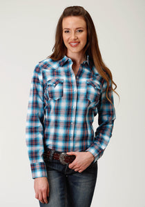 West Made Collection Westm Womens Long Sleeve 2606 White Star Plaid