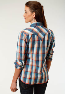 West Made Collection Westm Womens Long Sleeve 3870 Sundown Plaid