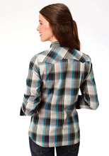 West Made Collection Westm Womens Long Sleeve 0718 Dove Grey Plaid