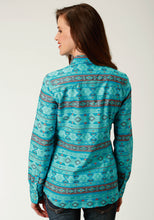 West Made Collection Westm Womens Long Sleeve 2609 Blue Horizon Aztec