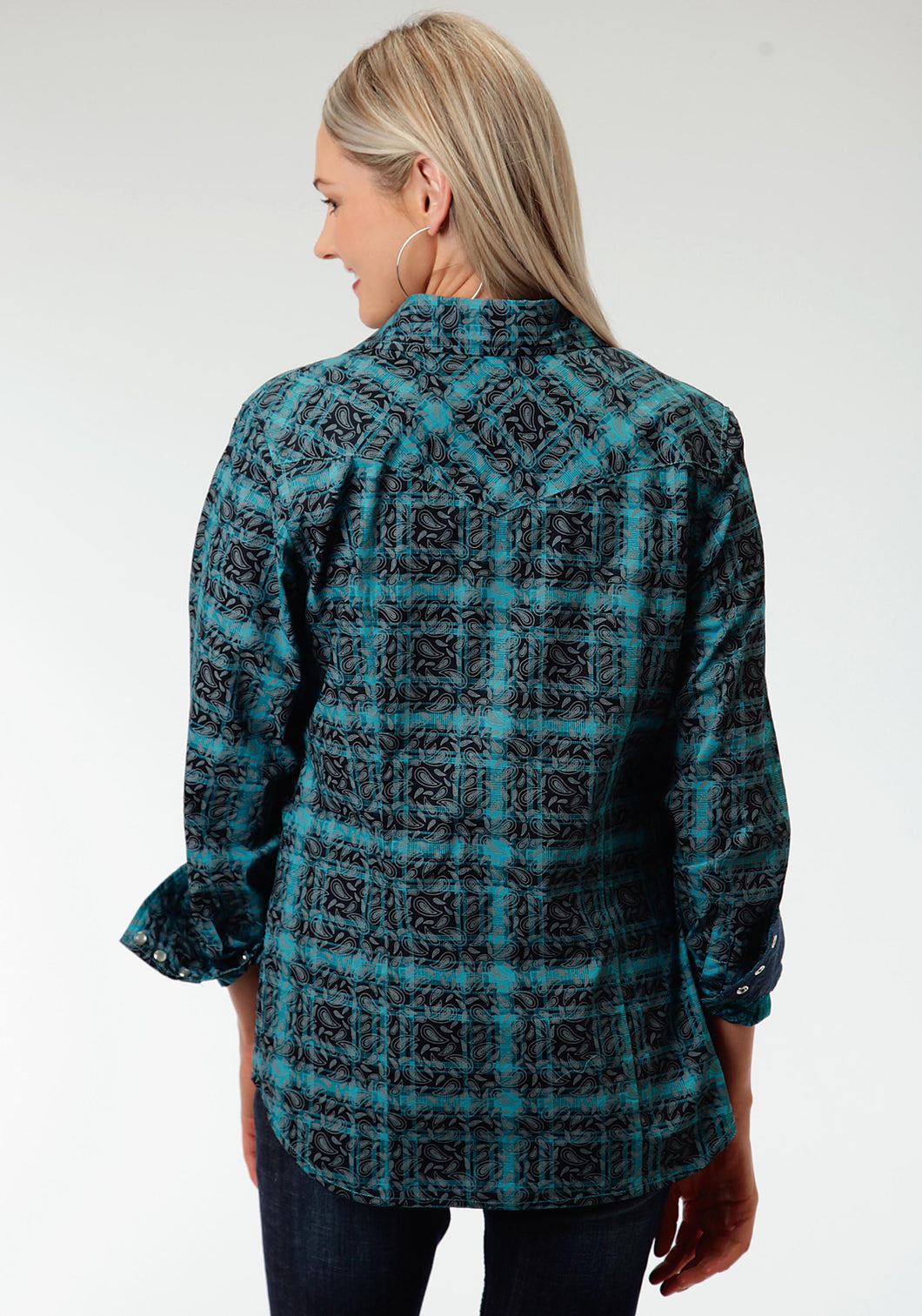 Performance Collection Westm Womens Long Sleeve Shirt 0621 Paisley Printed Plaid