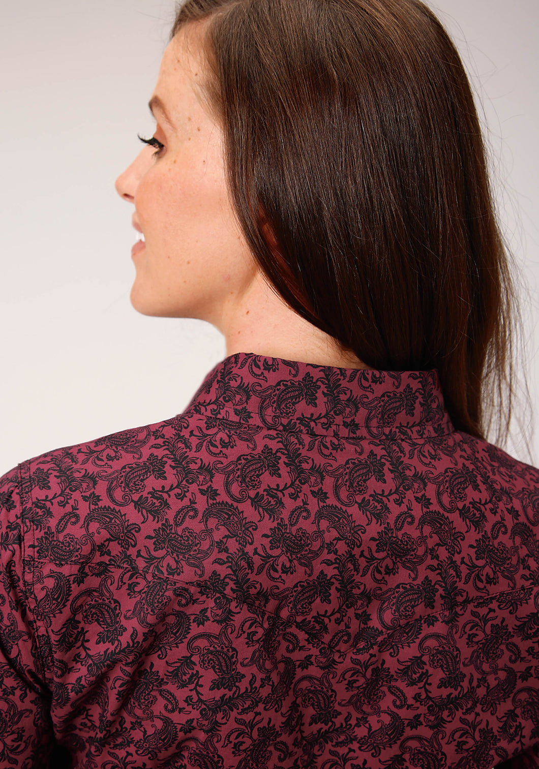 West Made Collection Westm Womens Long Sleeve 00321 Wine Paisley